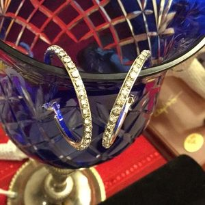 Jewelry - Silvertone Hoop Earrings With Rhinestones